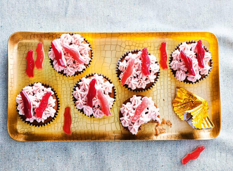 Aardbeiencupcakes met cadillac-crème
