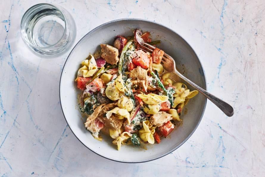 Romige perline pasta met vegakip,pompoen & roerbakgroente