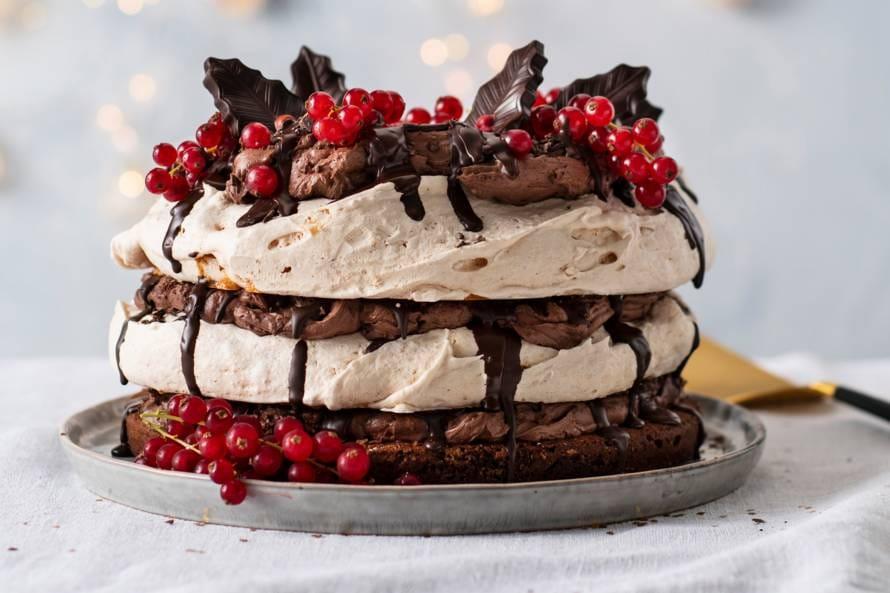 Meringuetaart chocolade & hazelnoten