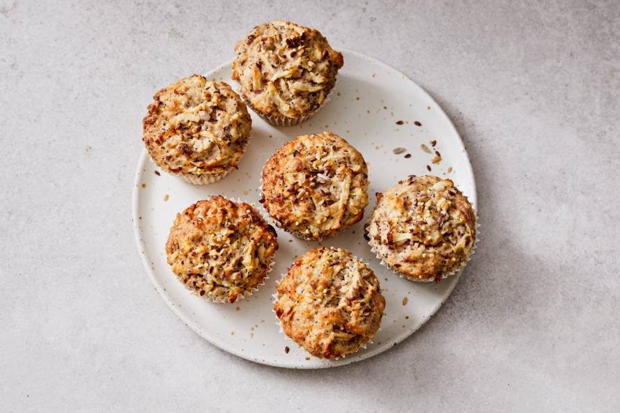 Muffins met magere kwark en geraspte appel