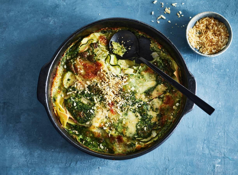 Lasagne met kip, spinazie en courgette