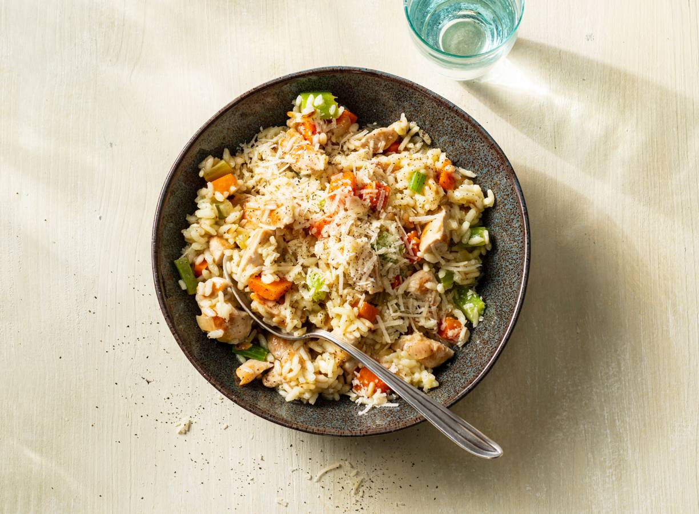 Risotto met kip en groenten