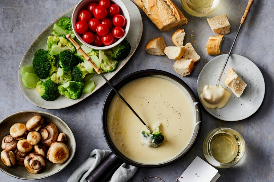 Kaasfondue met broccoli & brood