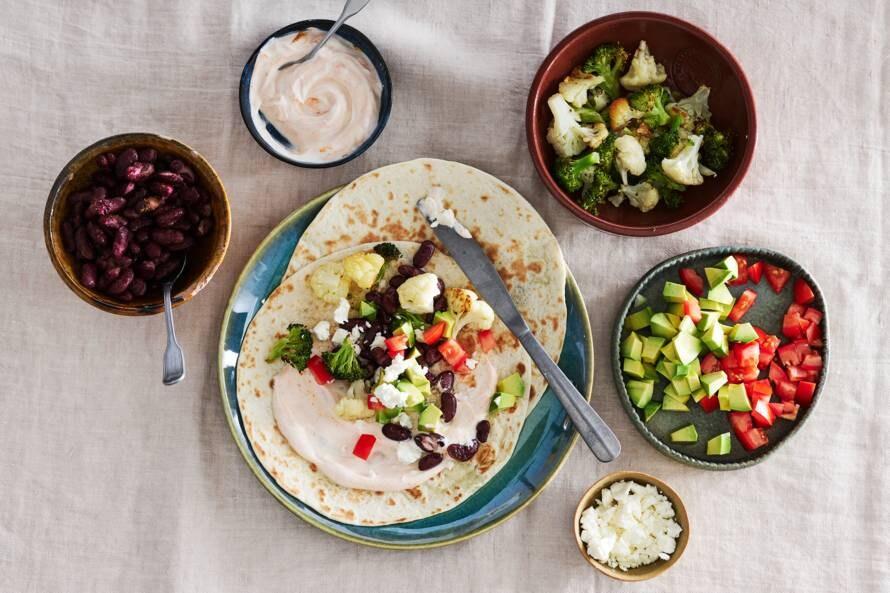 Taco's met groente, kidneybonen en avocado