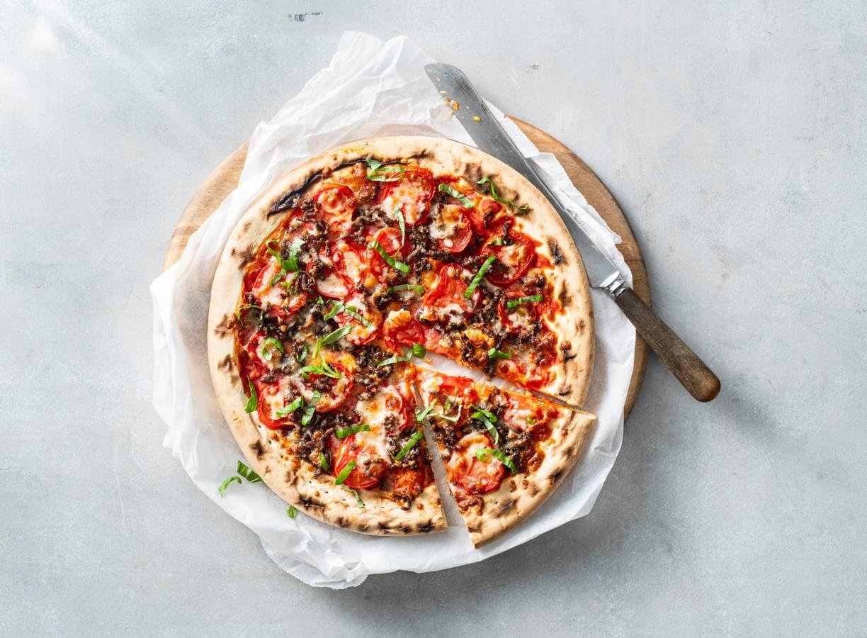 Snelle pizza met gehakt