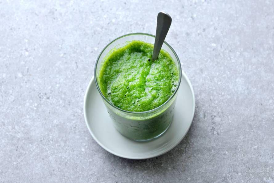 Groene gazpacho van paprika, komkommer en spinazie