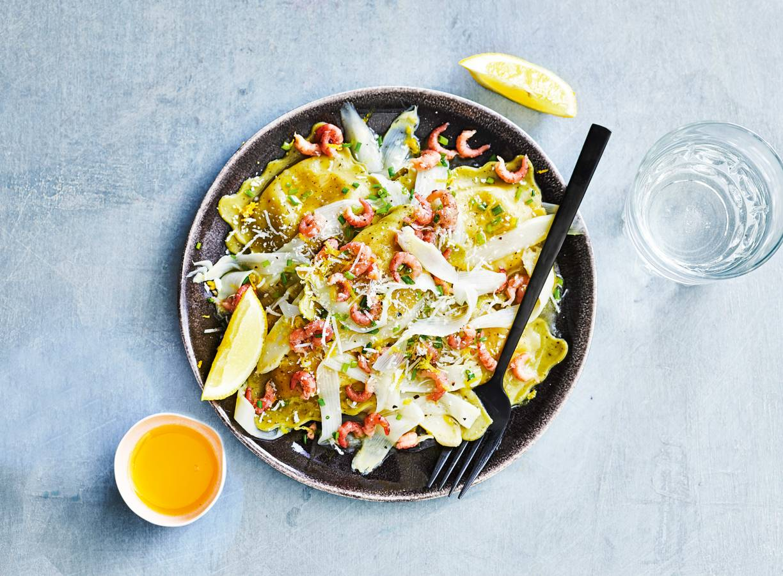 Ravioli met asperges & garnalen