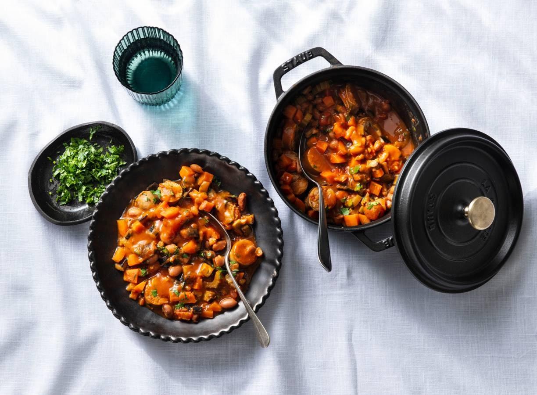 Borlottibonenstoof met worstjes en aubergine
