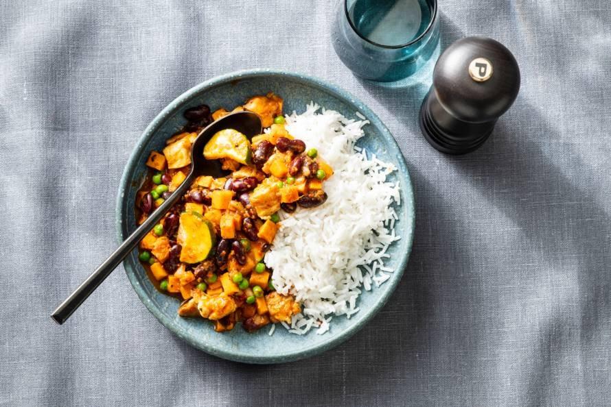 Curry met kidneybonen en zoete aardappel