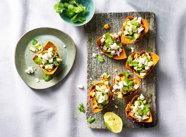 Vegetarische taco met zelfgemaakt vega gehakt