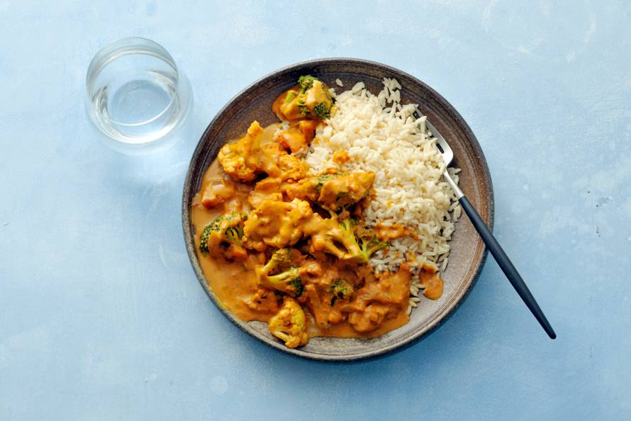 Curry van bloemkool en broccoli