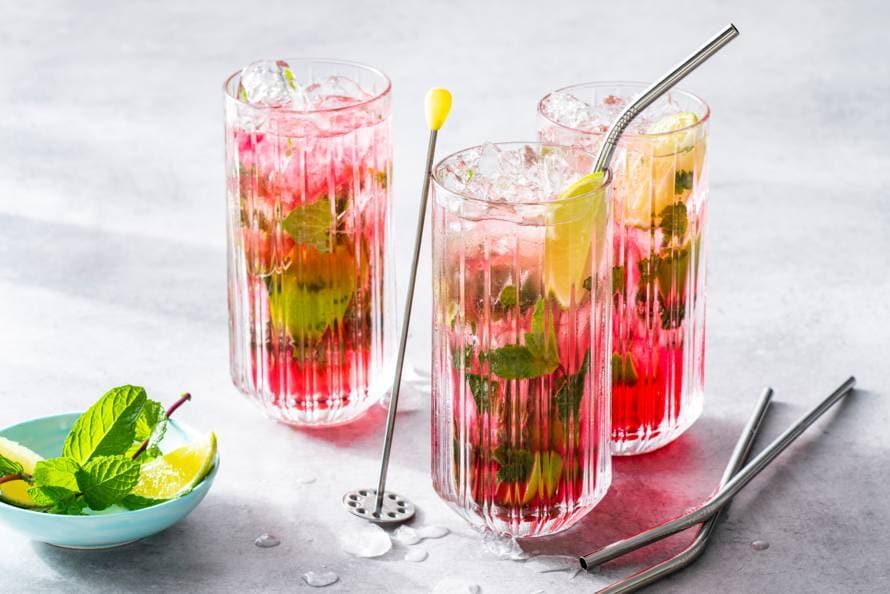 Alcoholvrije cranberry-mojito