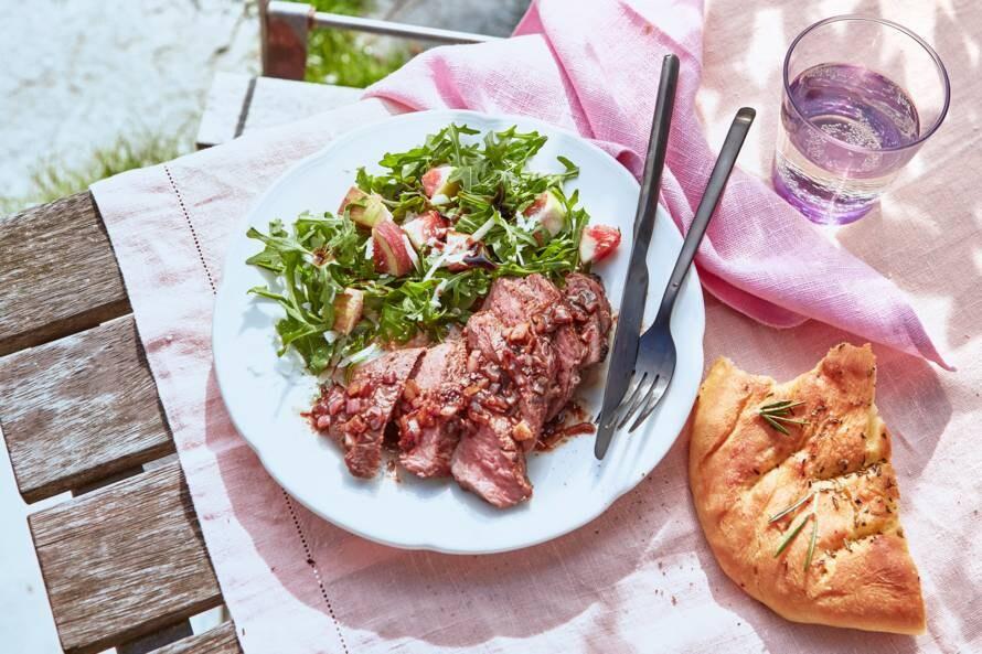 Biefstuk met balsamicojus en verse vijgen