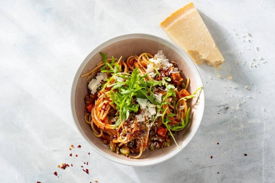 Spaghetti met groentesaus