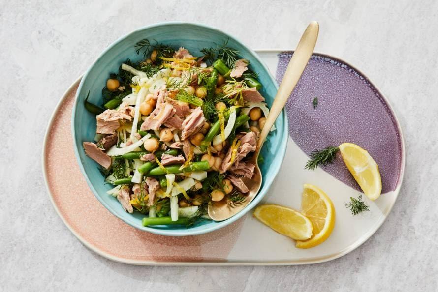Kikkererwten-tonijnsalade met venkel & sperziebonen