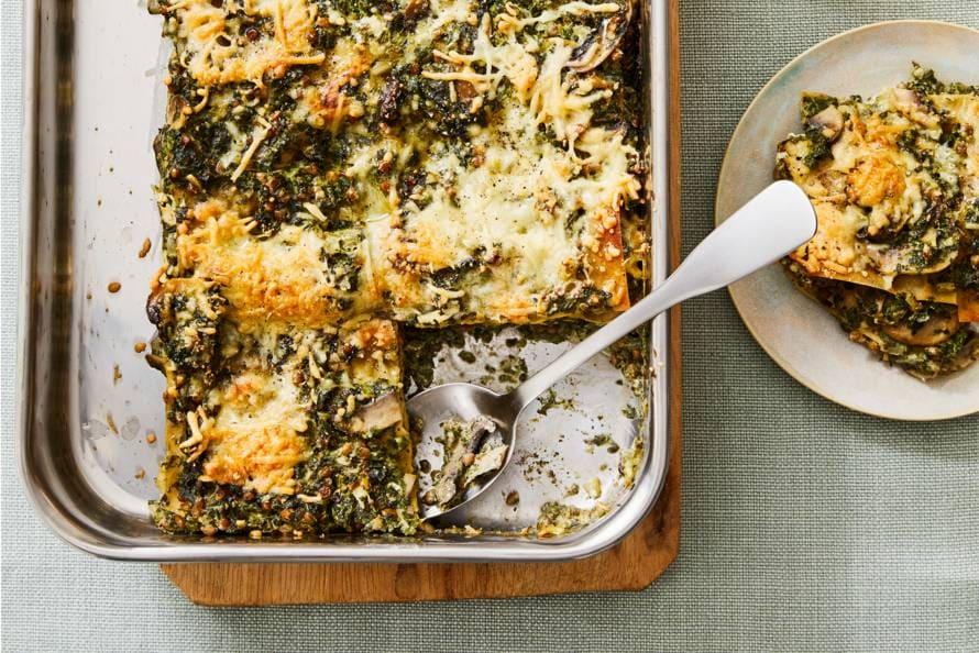 Volkorenlasagne met spinazie en linzen