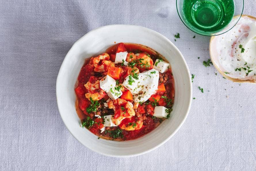 Linzen-tomatenstoof met bloemkool