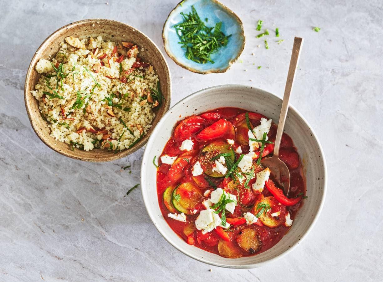 Kruidige groente met couscous en feta