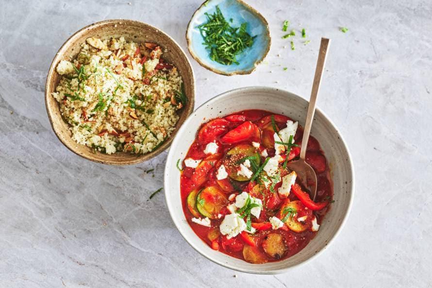 Marokkaanse groente met couscous en feta