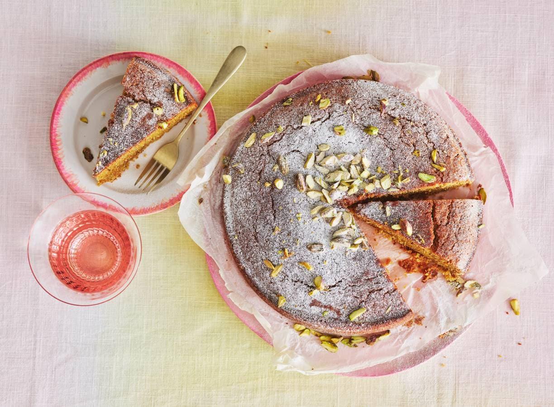 Pistachecake met rijstdrank
