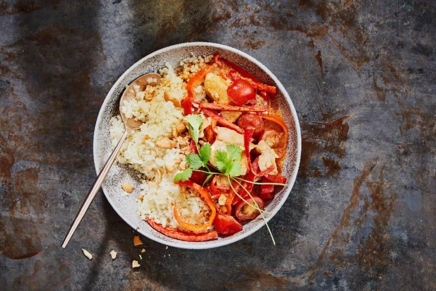 Panang curry met bloemkoolrijst