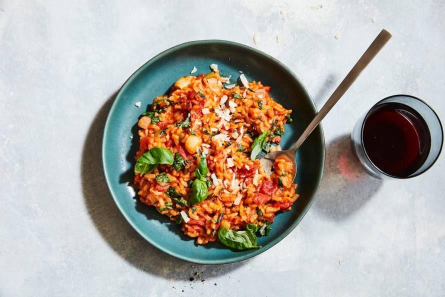 Tomatenrisotto met basilicum uit de oven