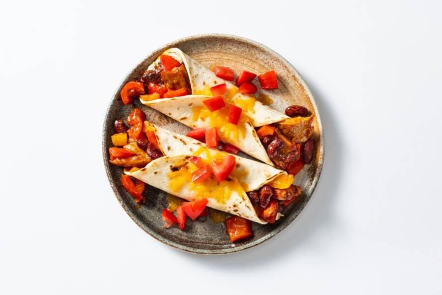 Burrito's met vegetarische stukjes als van kip