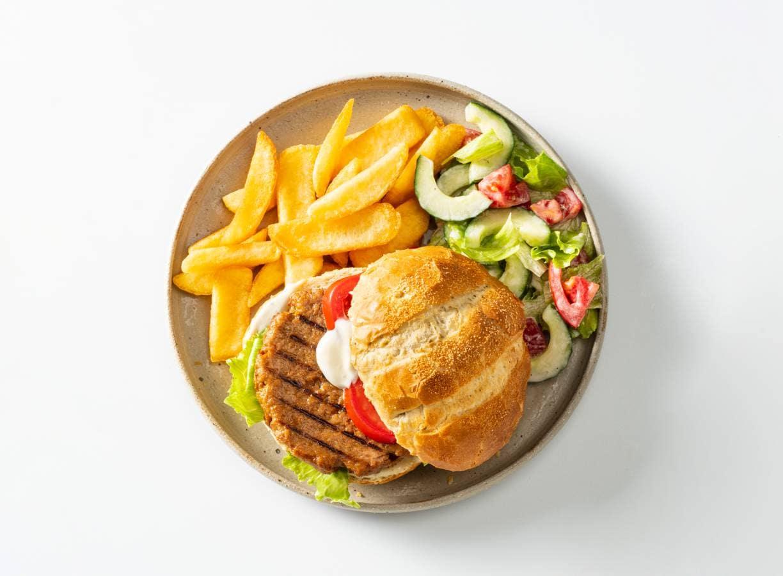 Vegetarische burger met salade en friet