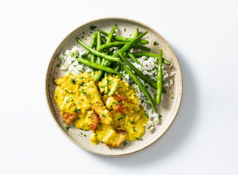 Vegetarische kip kerrie met rijst