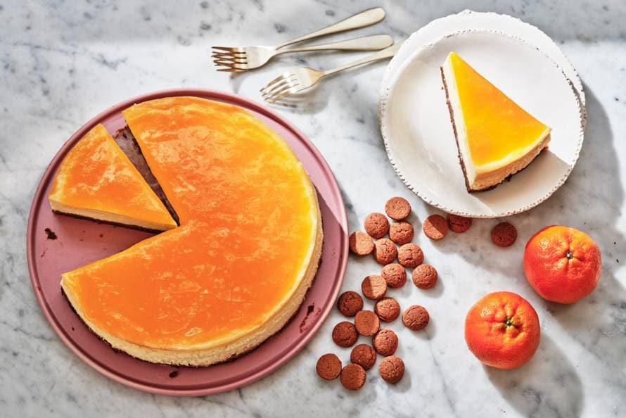 Cheesecake met kruidnoten en mandarijn glazuur