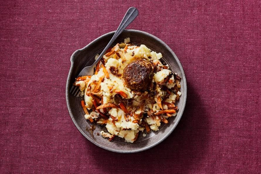 Hutspot met gekaramelliseerde wortel