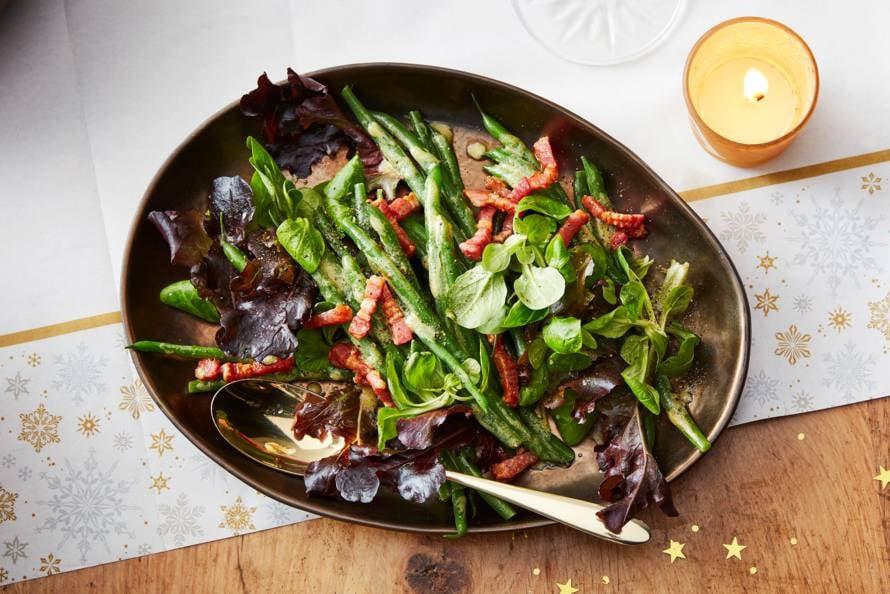 Salade met haricots verts en spek