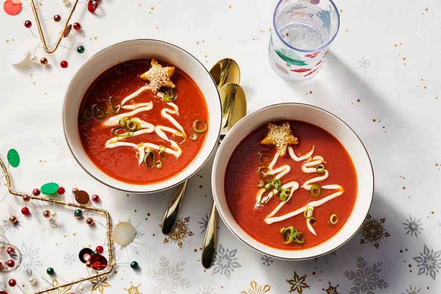 Tomatencrèmesoep met bladerdeegsterren