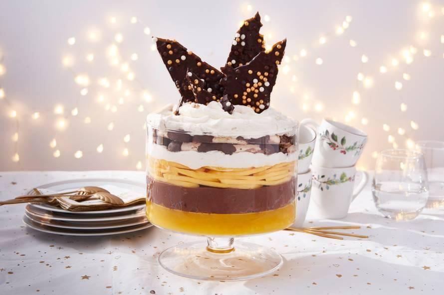 Trifle met chocolade, mango en bokkenpootjes
