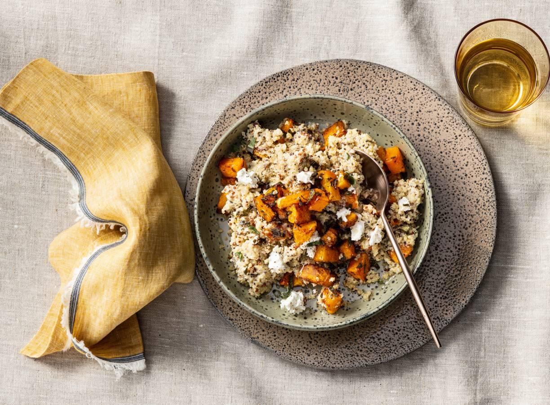 Quinoa met geroosterde pompoen en geitenkaas