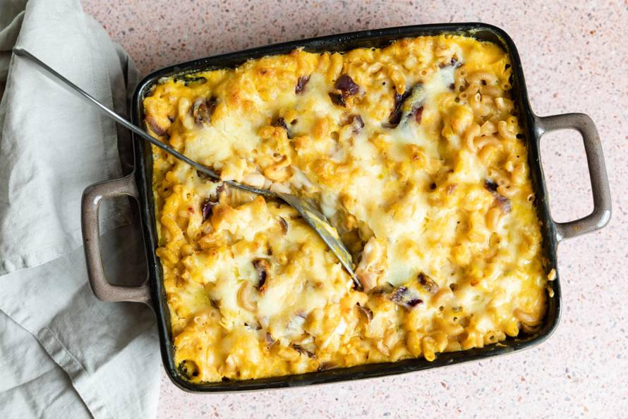 Volkoren mac and cheese met pompoen