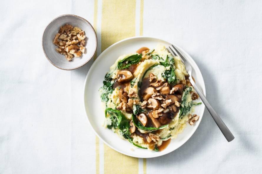 Spinaziestamppot met champignons en jus