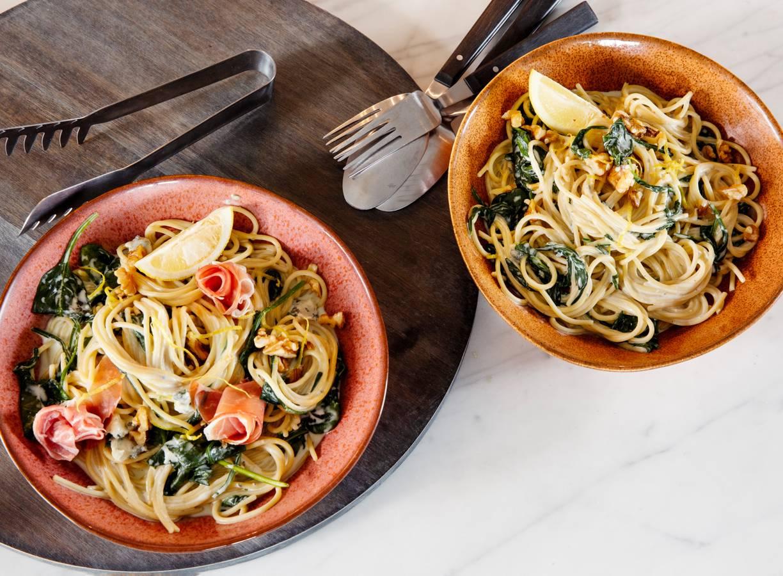 Pasta met spinazie en gorgonzola-roomsaus