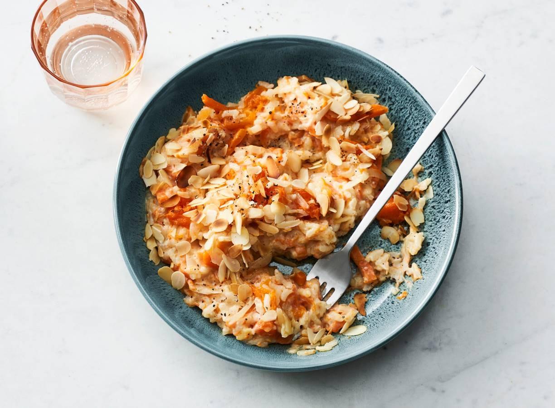 Pompoenrisotto met wortel en geitenkaas