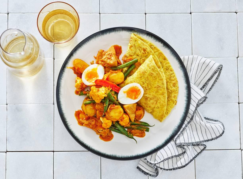Jackfruit-curry met 'roti'