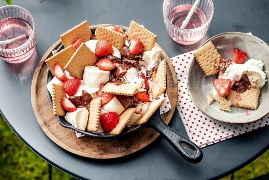 BBQ s'mores met aardbeien