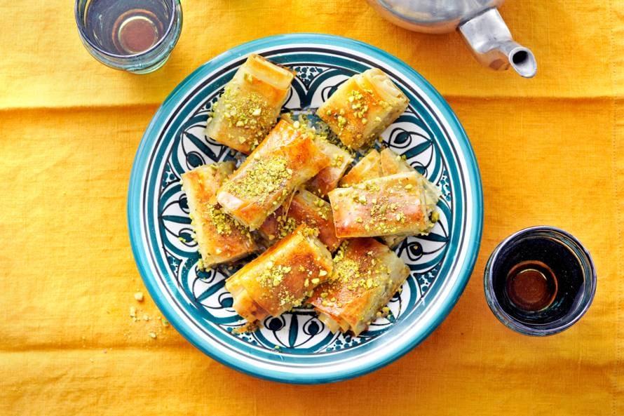 Burma baklava (opgerolde baklava met pistache)