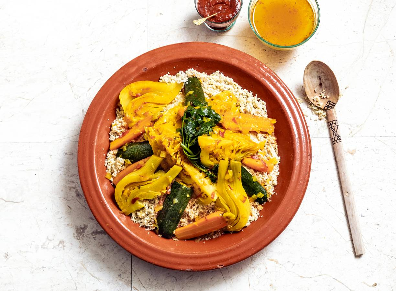Gestoomde couscous met groenten in lichte saffraanbouillon van Nadia Zerouali§