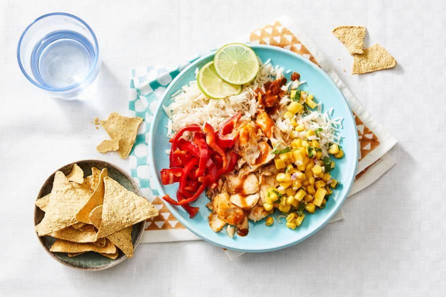 Rijst met kabeljauw en chipotlesaus