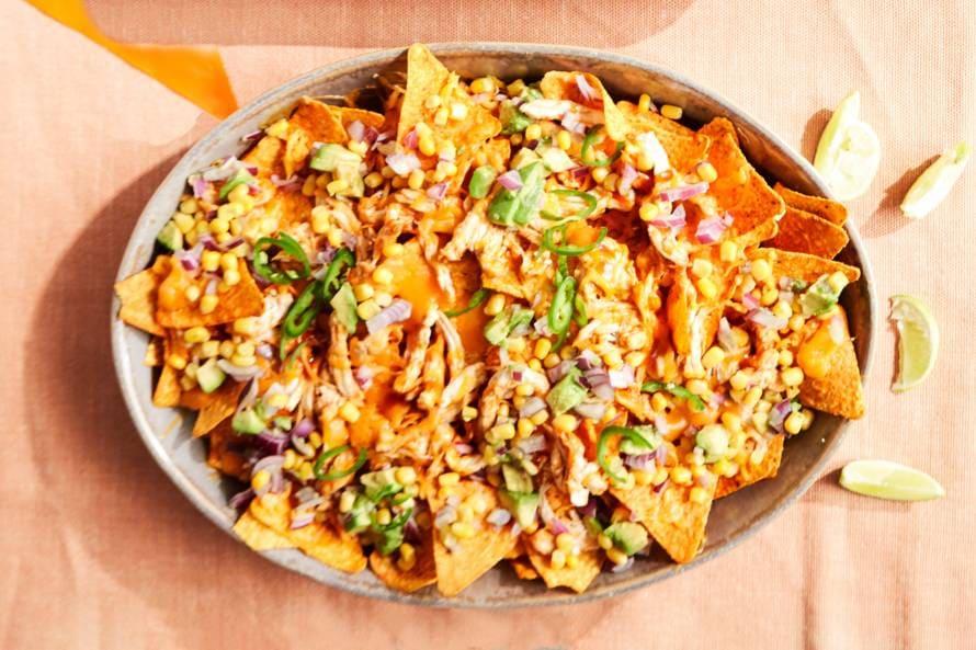 Pulled chicken nacho-borrelschotel