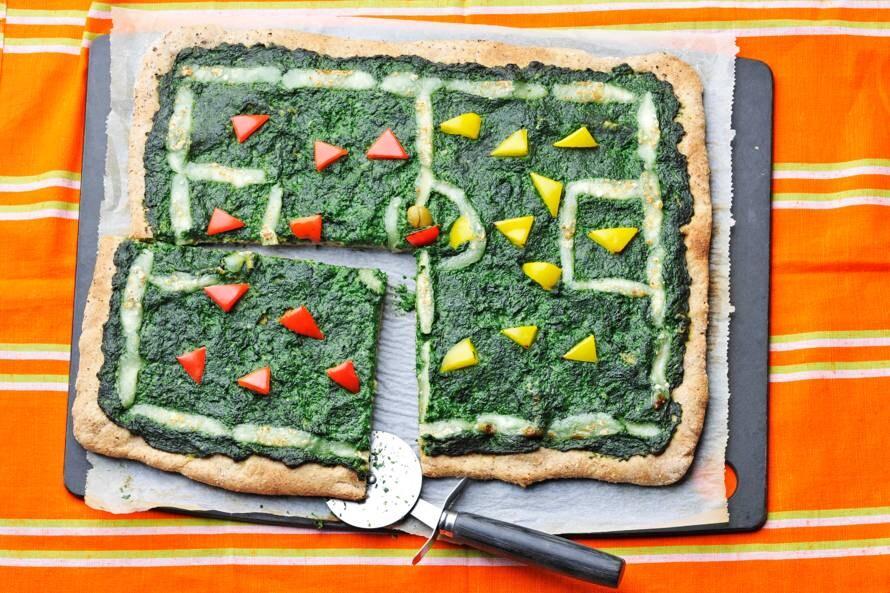Voetbalveld-plaatpizza