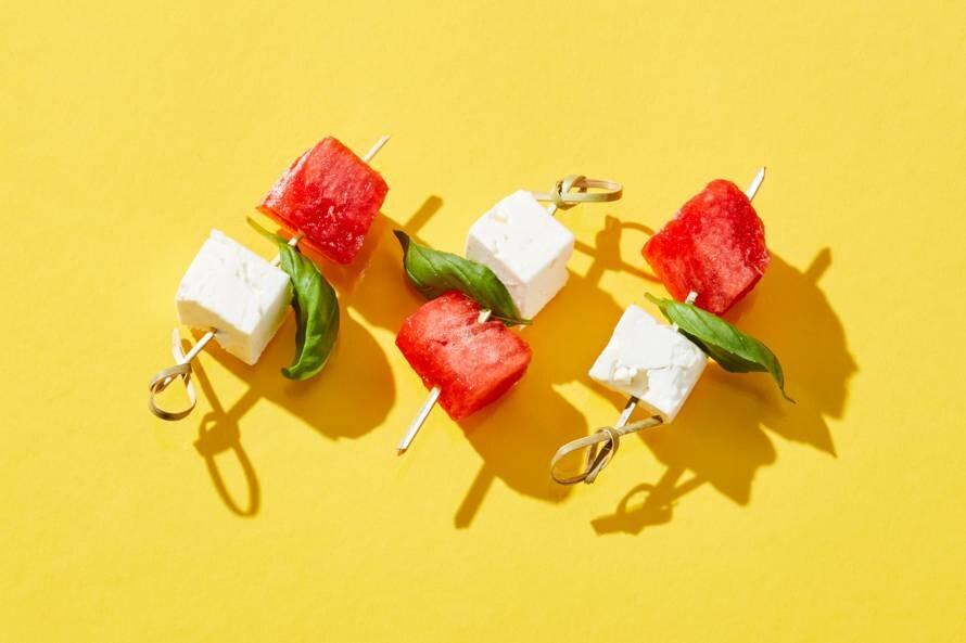 Feta-watermeloenspiesjes