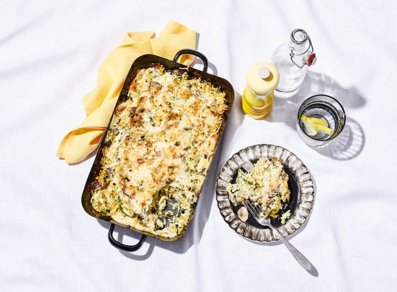 Gegratineerde orzo met champignons en broccolirijst