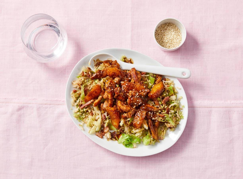 Kip met sinaasappel-hoisinsaus en rijst