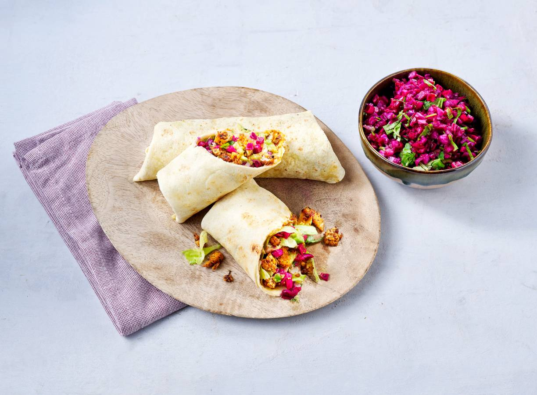 Vegan wraps met tofu en rodekoolsalade